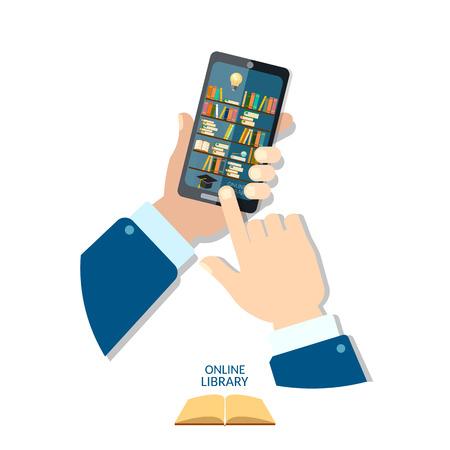 library shelf: Online mobile library mobile app Library shelf in smart phone tablet