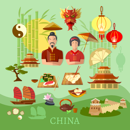 traditions: China Chinese traditions and culture travel concept vector collection