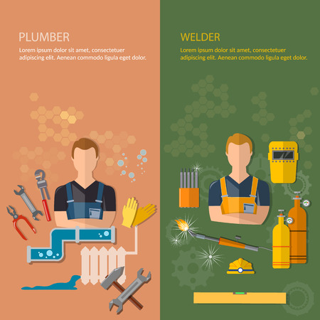 plumbing tools: Industrial professions banners plumber and welder plumbing tools and welding tools vector illustration