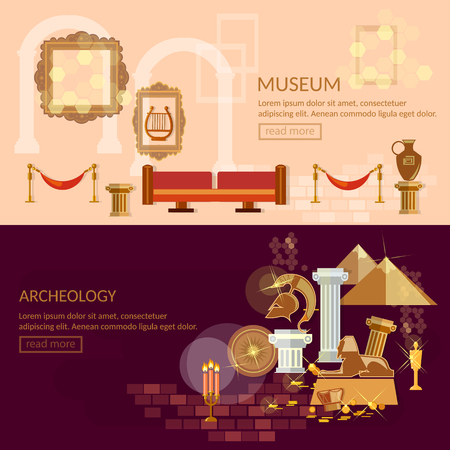 exposition: Museum horizontal banner ancient civilizations science exposition vector illustration Illustration