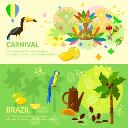 coffe tree: Brazilian Carnival  Brazil banners Brazilian culture vector illustration