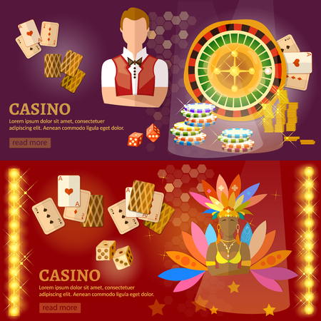 las vegas lights: Casino and gambling house banners playing cards poker baccarat game industry vector illustration