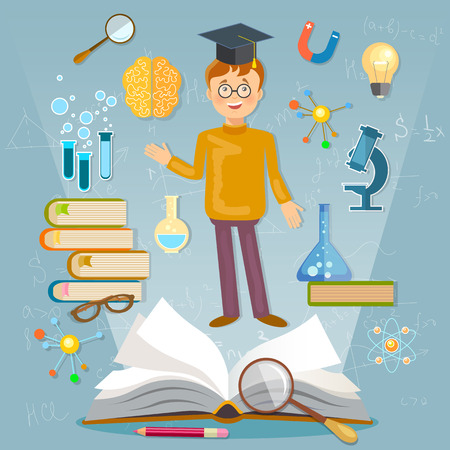 cap: Education back to school student studying school subjects illustration