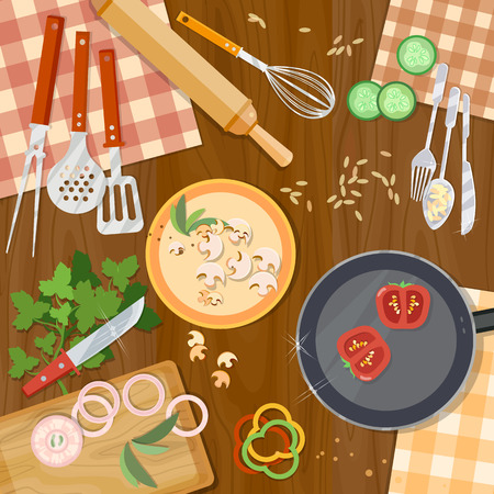 Cooking food kitchenware on the table top view illustration