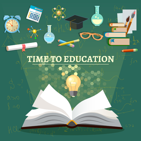 graduation cap and diploma: Time to education open book school subjects effective education back to school illustration