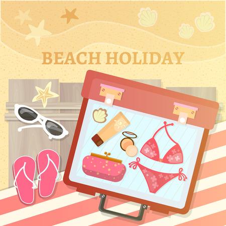 suntan cream: Summer holidays in beach Illustration Illustration