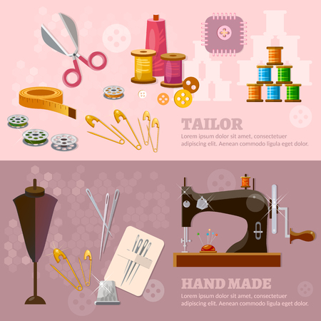 seamstress: Seamstress and tailor sewing machine tailoring clothes production illustration