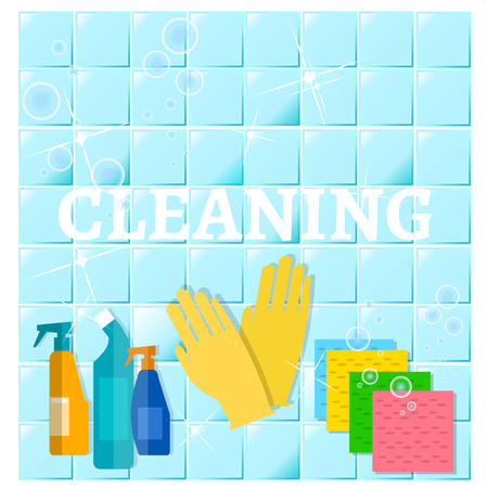 dusting: Cleaning service sanitation and hygiene cleaners yellow glove cleans the blue tile illustration