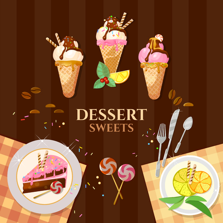 vanilla pudding: Desserts and sweets ice cream delicious cake chocolate cream illustration Illustration
