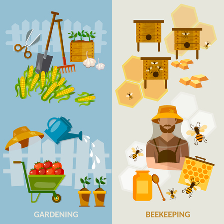 beekeeping: arden banners beekeeping equipment cultivation fruits and vegetables illustration