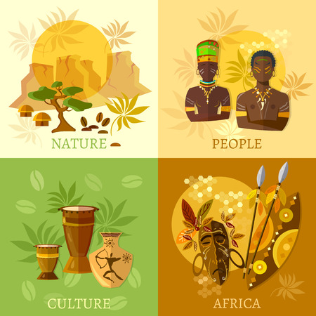 アフリカ設定アフリカ文化と伝統のアフリカの部族の図