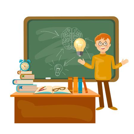 schoolboy: Education time schoolboy in a school board back to school illustration Illustration