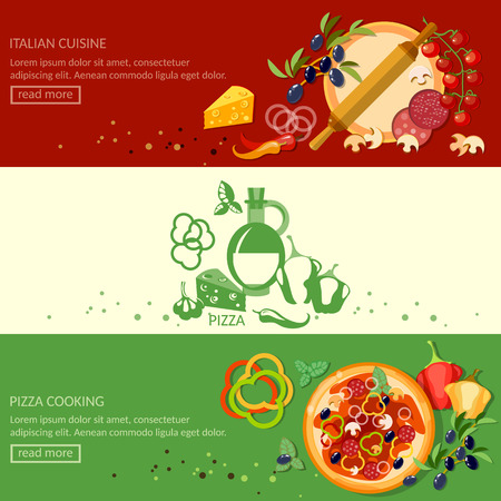 italian pizza: Italian pizza cooking and ingredients banners Illustration