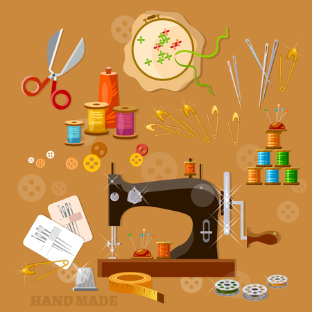 fashion illustration: Seamstress and tailor sewing machine tools for scrapbooking Illustration