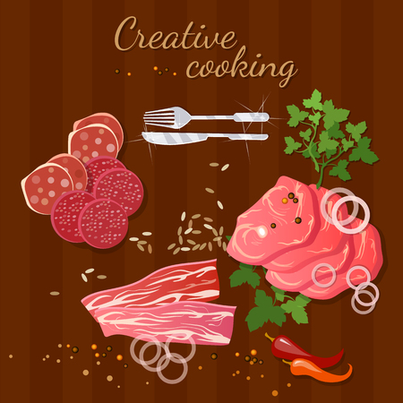 raw beef: Raw fresh meat on wooden table beef and pork steak illustration Illustration