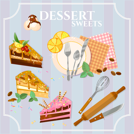 vanilla pudding: Desserts and sweets pieces of cake ice cream illustration