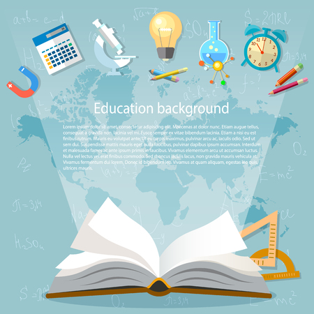 simbolos matematicos: Fondo de la educación libro abierto de nuevo a la escuela ilustración
