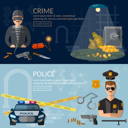 prison guard: Crime and Punishment security system thief and policeman illustration