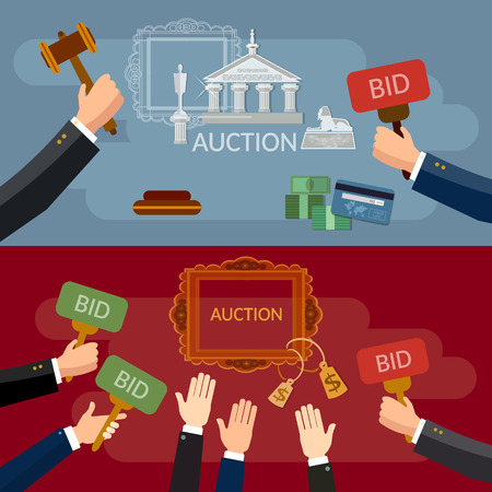 Auction and bidding banners sale antiques art vector illustration