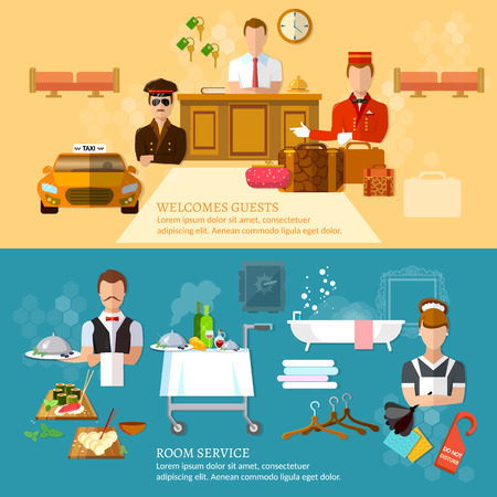 hotel staff: Hotel service banners hotel staff vector illustration Illustration