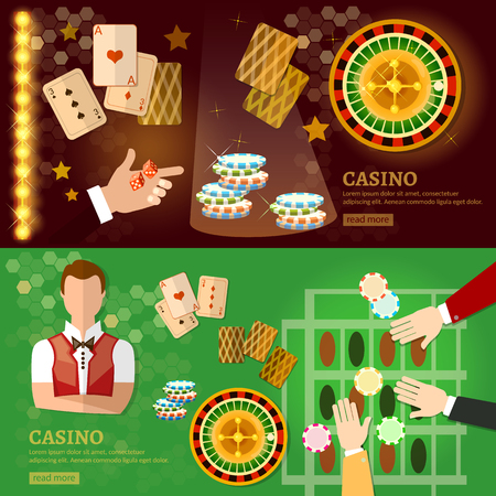 american roulette: Casino banner design with slots and roulette poker game playing cards