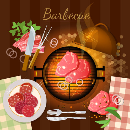 embers: Bbq grill party grilled meat top view vector illustration Illustration