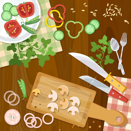 cookery: Cookery home kitchen cooking food top view vector illustration Illustration