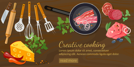 colander: Cooking banner top view vector illustration Illustration