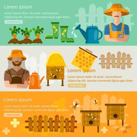 cultivation: Gardening and beekeeping banner seedling cultivation apiary beekeeper vector illustration