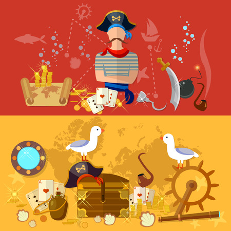 Pirate banner sea adventures treasure island vector illustration