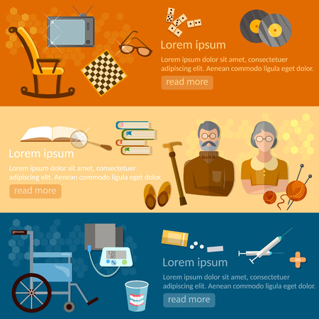 pension: Leisure of seniors banners pension hobbies retirement home vector illustration Illustration