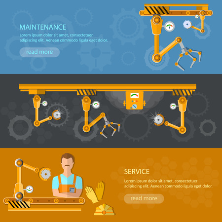 spoilage: Conveyor banners automation of labor conveyor belt Illustration
