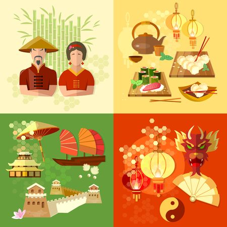 traditions: China Chinese culture and traditions vector set Illustration
