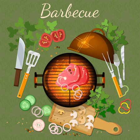 grilled meat: Bbq grill party picnic grilled meat top view vector illustration Illustration