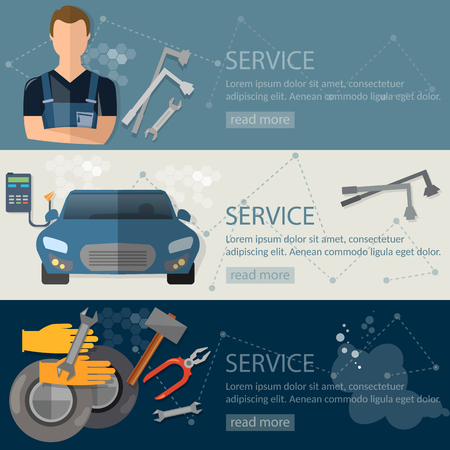 auto service: Auto service banner auto repair tire service oil change auto mechanic Illustration