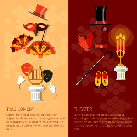 Theatre flat banner set with actors dramaturgy performance vector illustration
