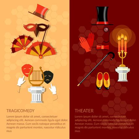 actors: Theatre flat banner set with actors dramaturgy performance vector illustration