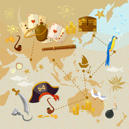 game bird: Old map of pirate treasure island vector illustration Illustration