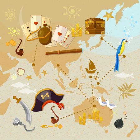 carte trésor: Vieille carte de trésor de pirate vecteur île illustration Illustration