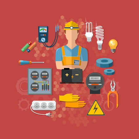 plug hat: Professional electrical tools electrician vector illustration Illustration