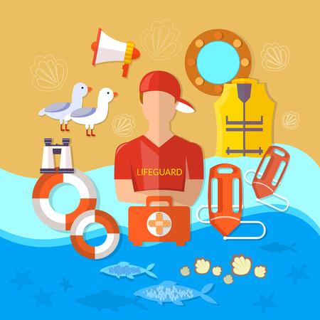 lifeguard: Professional  beach lifeguard vector illustration Illustration