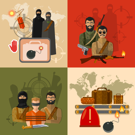 Terrorism concept world terror taking hostages global threat  group terrorists baggage screening at the airport vector set Stock Illustratie