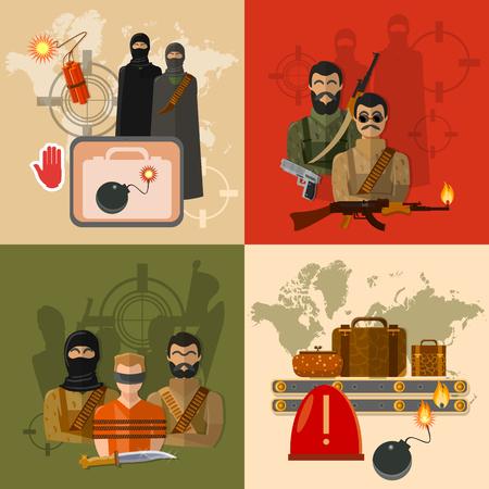 Terrorisme concept de monde terreur la prise d'otages des terroristes du groupe mondial de la menace des bagages à l'aéroport vector set Vecteurs