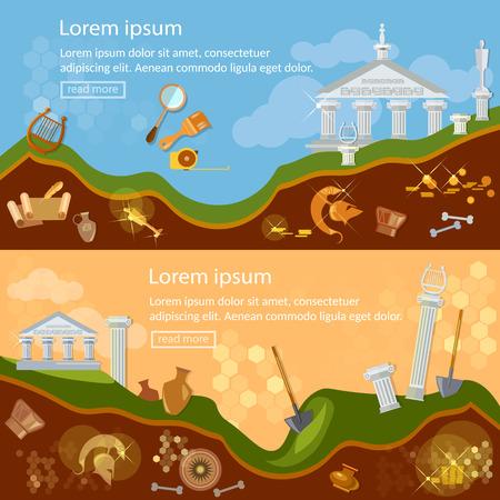 bandera arqueología cazadores de tesoros excavaciones arqueológicas artefactos antiguos ilustración vectorial