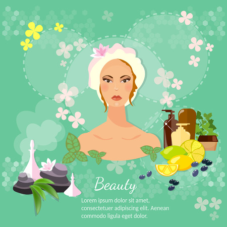 cosmetic products: Womens beauty skin care cosmetic products vector illustration