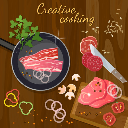 Raw fresh meat on wooden table fresh meat cooking grilling red meat in a frying pan vector illustration
