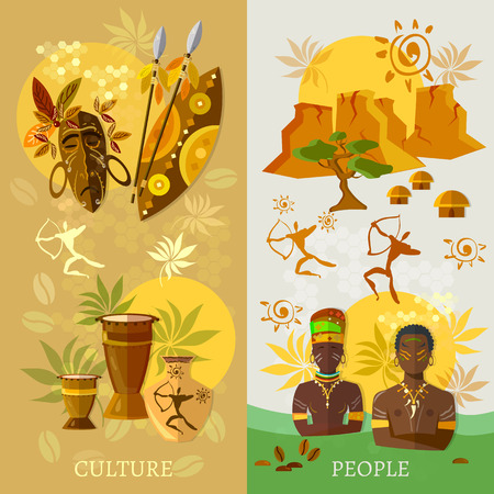 African banner Africa culture and traditions ancient tribes of Africa vector illustration  イラスト・ベクター素材