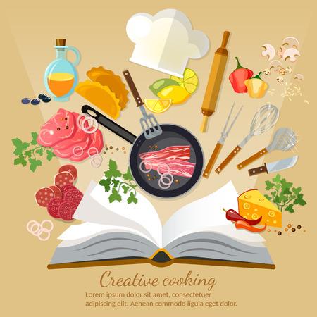 Cookbook creatief koken vlakke stijl vector illustratie