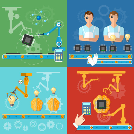 assembly line: Industrial automated modern technology assembly line process of assembling computers operator conveyor creation of microchips vector illustration