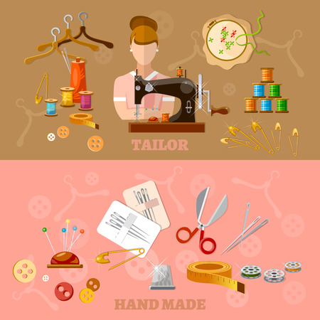 tailored: Seamstress and tailor banners tailoring clothes production sewing machine  flat style vector illustration